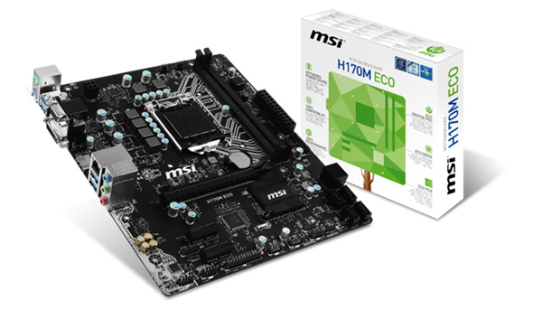 The MSI H170M Eco micro-ATX motherboard is one of the three second-generation Eco series boards that MSI just announced. (Image Source: MSI)