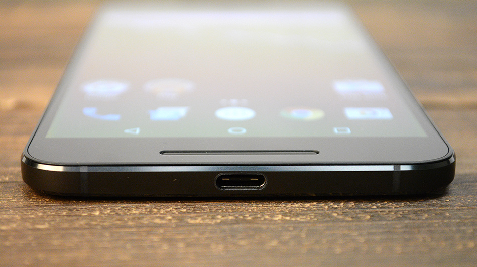 The Nexus 6P uses a USB 2.0 Type-C port for charging.