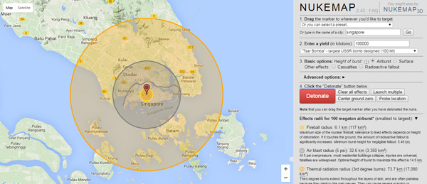 How Many Nukes Would It Take To Wipe Singapore Off The Map - Nuke map us