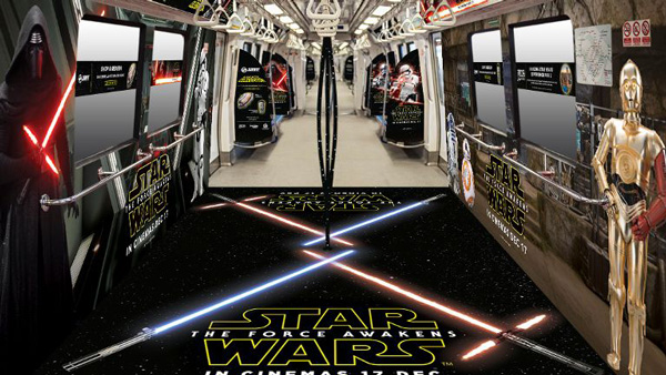 The artist's impression of the trains looks a bit one sided. The First Order gets a lot of representation, but the New Republic/ Resistance only gets Threepio, Artoo and BB-8. Image source: SMRT.