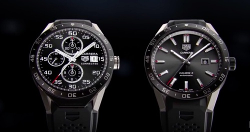 The Connected Watch (left) looks similar to Tag Heuer's analog watch model (right). <br> Image source: Screenshot from Tag Heuer Connected Press Conference (YouTube)