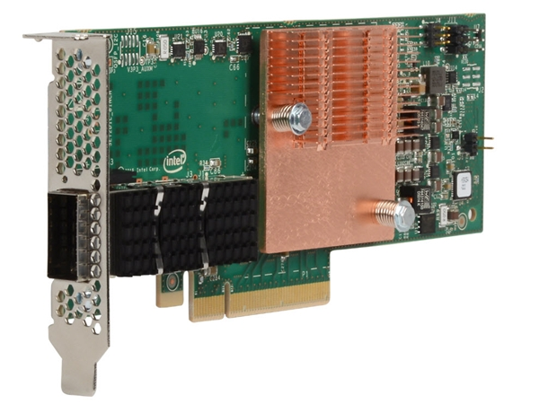 Intel Omni-Path host fabric interface (HFI) x8 adapter. <br> Image source: Intel.