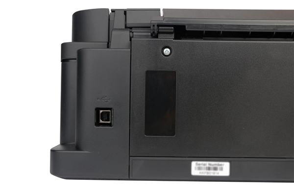 A sole USB port sits behind the PIXMA G3000. The addition of a network port would certainly be nice.