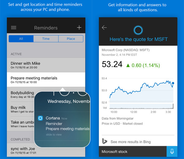 Set reminders and get answers with Cortana on iOS. (Image source: Apple App Store.)