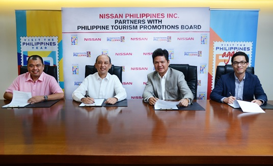 "(From left): Mr. Milo Oropeza, Philippine Tourism Promotions Board (TPB) project development officer; Mr. Domingo Ramon ""Chicoy"" Enerio III, TPB chief operating officer; Mr. Antonio Zara, Nissan Philippines. Inc. (NPI) president and managing director; and Mr. SJ Huh, NPI general manager for marketing"