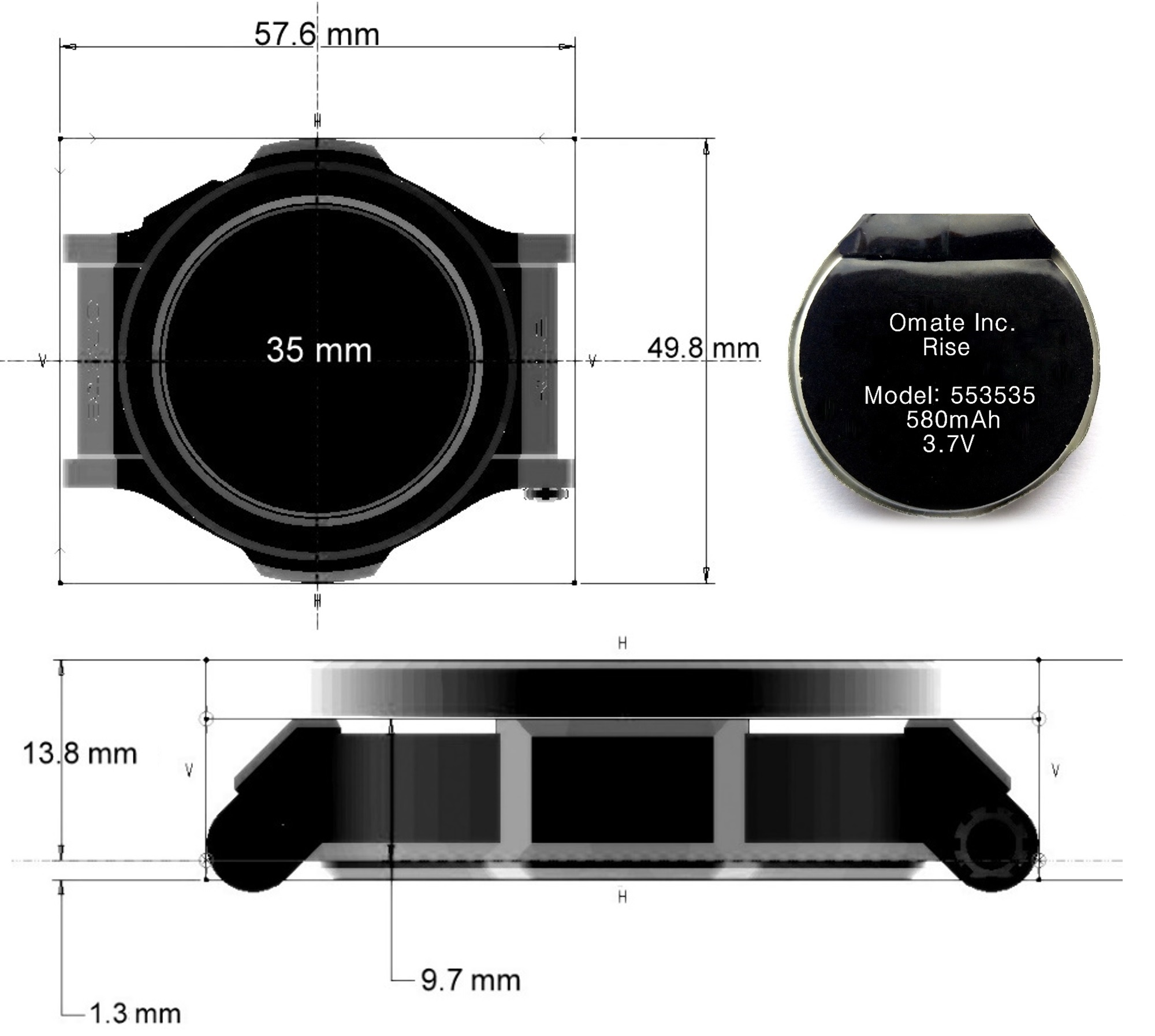 The smartwatch's architecture and size.