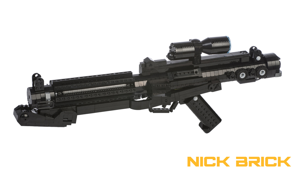 A built-to-scale LEGO version of a E-11 blaster rifle. Image credit: The Brothers Brick.