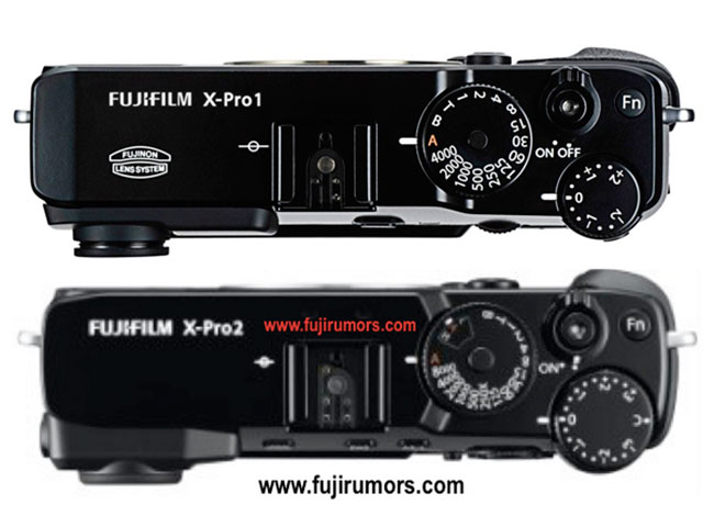 The Fujifilm X-Pro1 (above) and the leaked X-Pro2 (below). Comparisons not to scale.