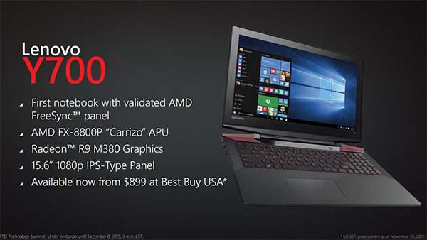 The Lenovo Y700 is the first notebook to officially support AMD FreeSync. (Image Source: AMD)