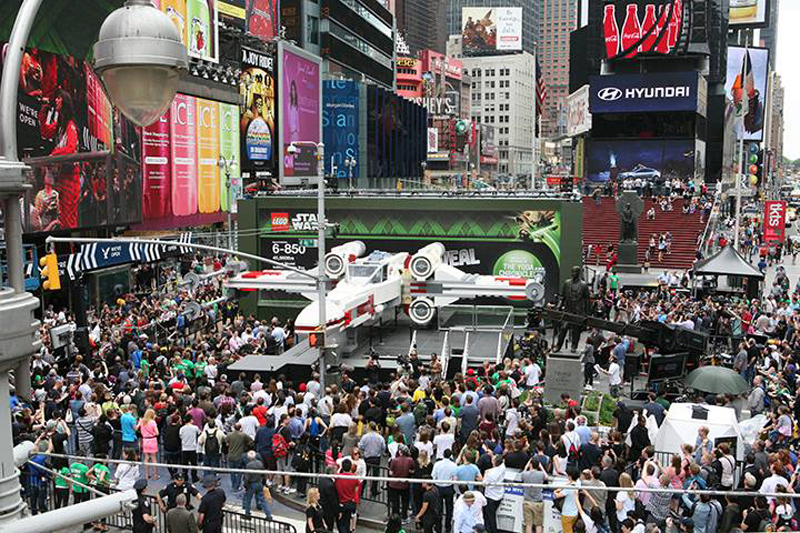 The life-sized X-wing starfighter made from over five million LEGO bricks on display in New York's Times Square.