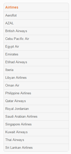 List of airlines that are under the service.