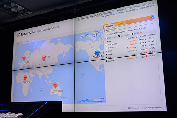 It's possible to zoom out and get an overview of the threats in different regions of the world.