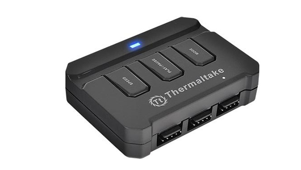 The fan controller comes with Speed, Play/Pause, and Mode buttons. (Image Source: Thermaltake)