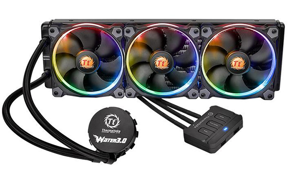 The Thermaltake Water 3.0 Riing RGB AIO coolers are available in 240mm and 360mm variants. They also comes with braided, sleeved tubing and a fan controller. (Image Source: Thermaltake)