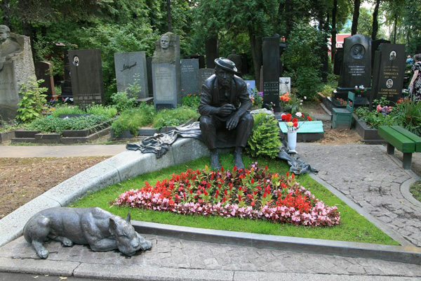 The grave of Yuri Nikulin, a famous Russian actor and clown, at Novodevichy Cemetery.