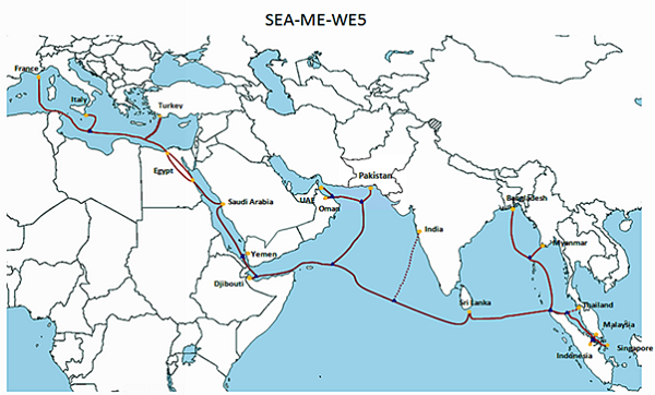 The route of the SEA-ME-W 5 cable system.