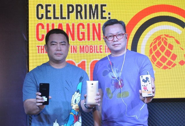The makers of CloudFone, Cellprime, has rolled out a broad spectrum of mobile devices through their collaborations and partnerships with global and local brands. Here pictured, (from left) Jaime Alcantara, Cellprime Chief Operating Officer, and Eric Yu, Cellprime President, introducing devices from Hyundai, Gionee, and Disney accessories.