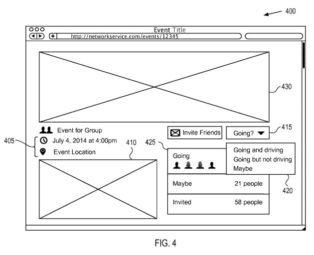 Filed patent shows that the events page will allow people to indicate if they're driving, should this ride-sharing feature start.