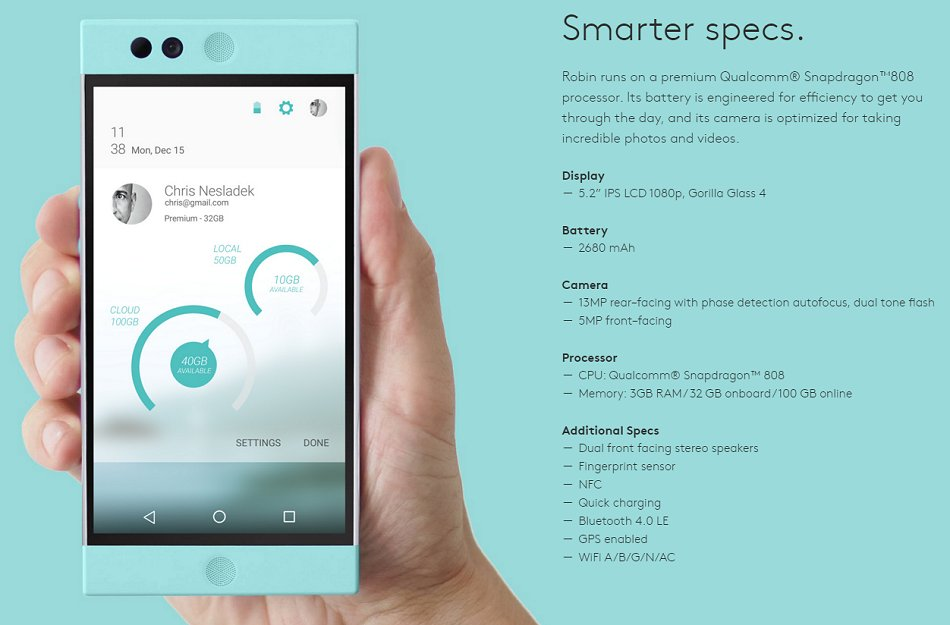 The key specs of the Nextbit Robin cloud oriented smartphone.