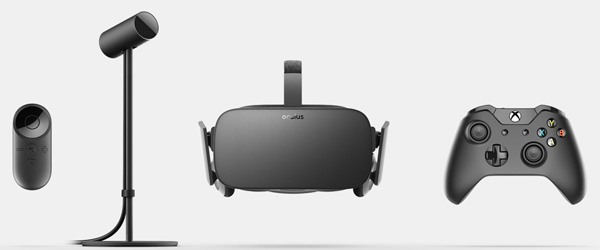 Here's what you're getting with the Oculus Rift. The Oculus Remote, the sensor stand, an Xbox One controller, and the Oculus Rift headset itself. Pre-orders also get Eve: Valkyrie and Lucky's Tale as free games.