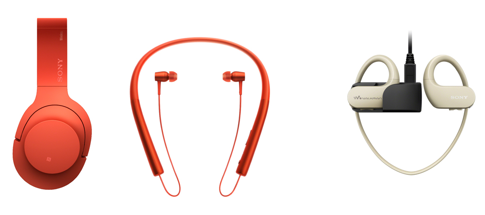 From left to right, Sony's wireless h.ear on MDR-100ABN, and wireless h.ear in MDR-EX750BT, and Sony Walkman WS410 series wearable player.