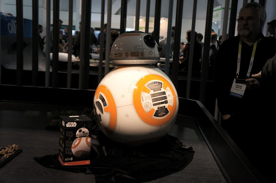 Over at Sphero's booth, they had a BB-8 droid mock that's equivalent to the one used in the latest Star Wars installment. We hope they'll have an actual droid of that size for sale one day!