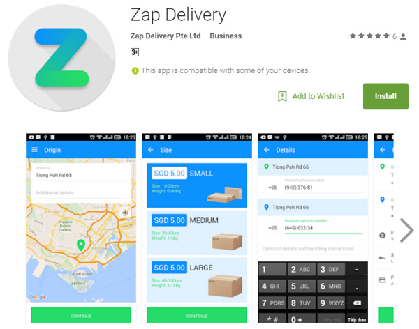Think of Zap Delivery as the Uber or Grab Taxi, but for couriers.