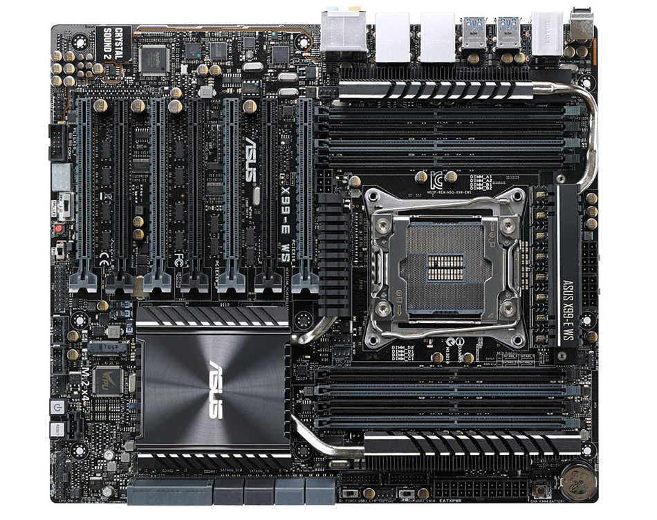 The ASUS X99-E WS Intel X99 motherboard has seven PCIe x 16 slots. (Image source: ASUS.)