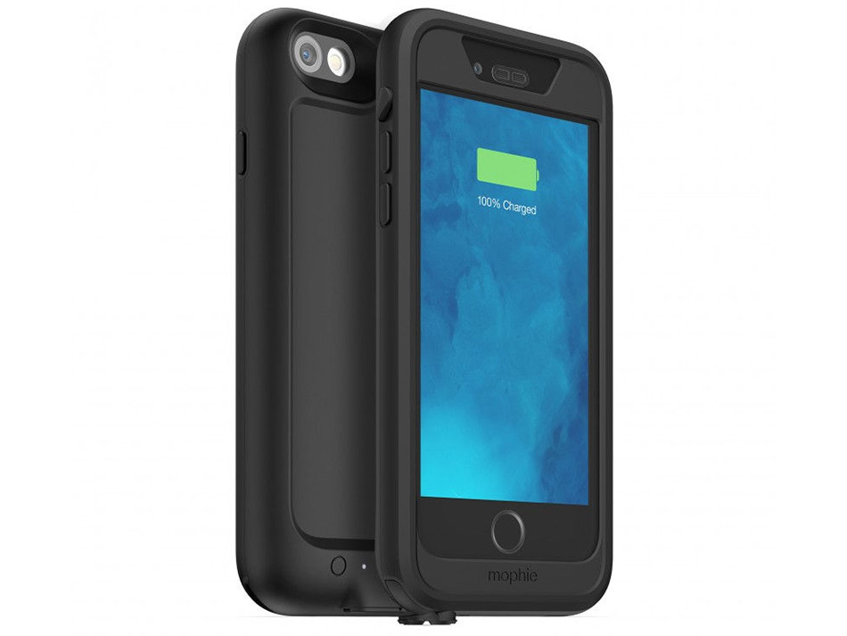 The Mophie juice pack H2Pro comes only in black locally with a front frame and a back frame. (Image source: Mophie.)