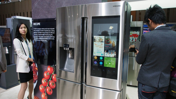 The Samsung Family Hub Refrigerator with 21.5-inch Full HD display.