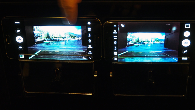 Samsung also demonstrated the new S7's capabilities under stimulated low-light conditions. The Galaxy S7 is on the right, while the S6 is on the left.