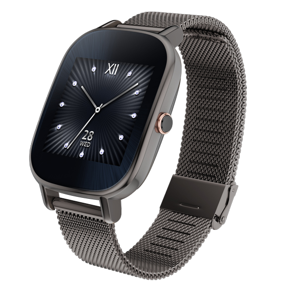 The ASUS Zenwatch 2 in its Gunmetal band variation.