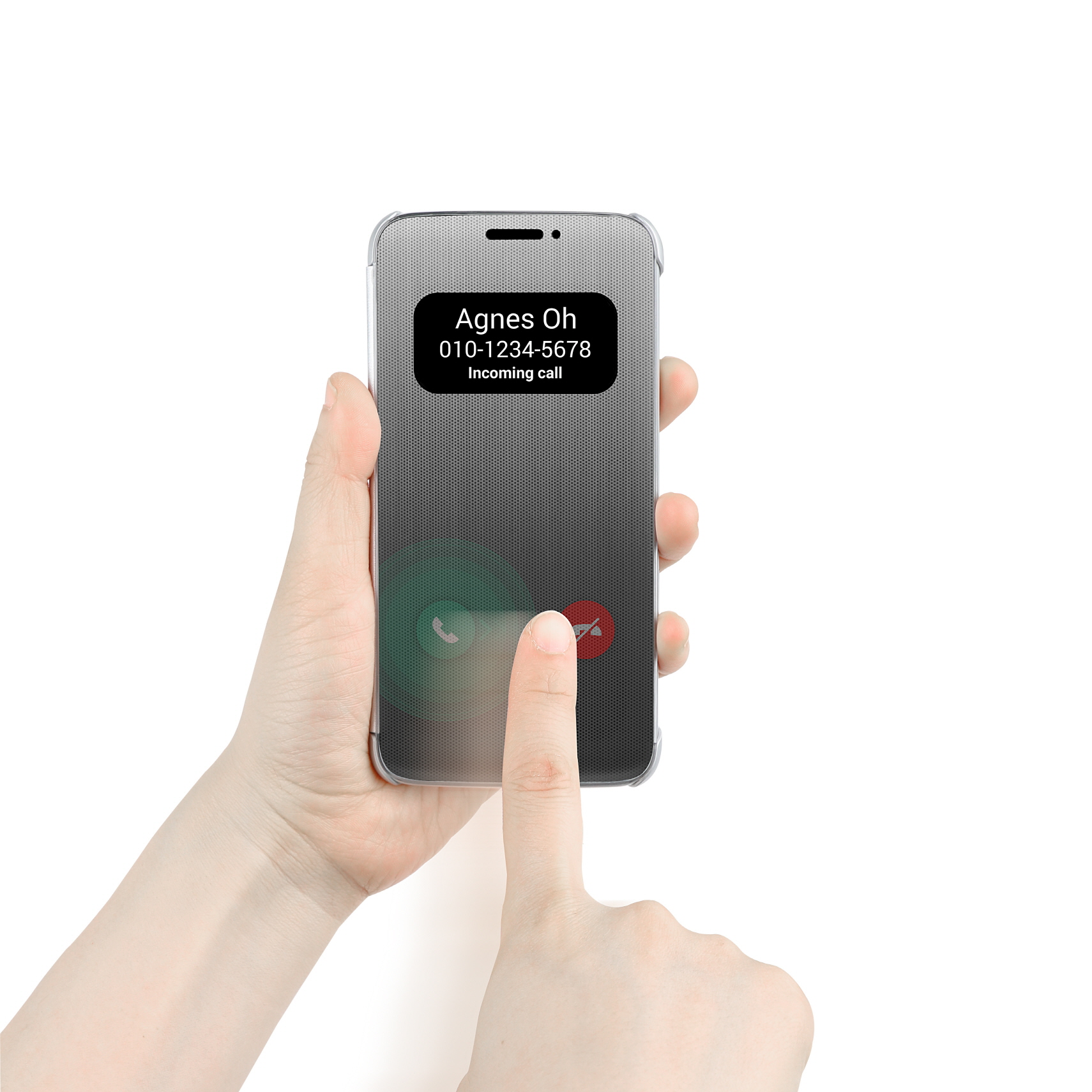 The LG G5 Quick Cover is touch sensitive - you can control the phone without opening the front flap.