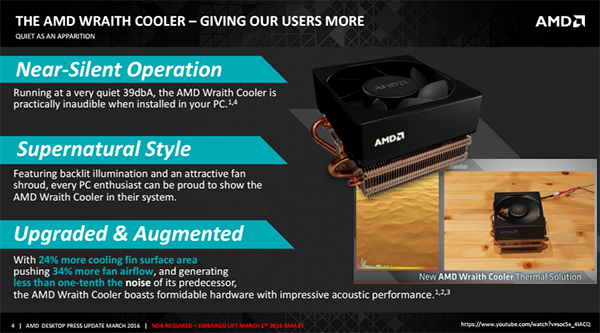 AMD's new Wraith cooler runs extremely quiet, yet still delivers powerful cooling performance. (Image Source: AMD)