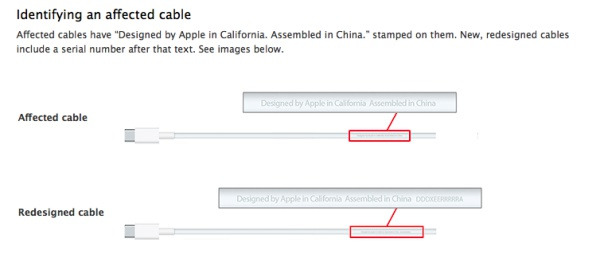 Apple has included a diagram (screenshot above) on how to identify an affected cable. <br> Image source: Apple