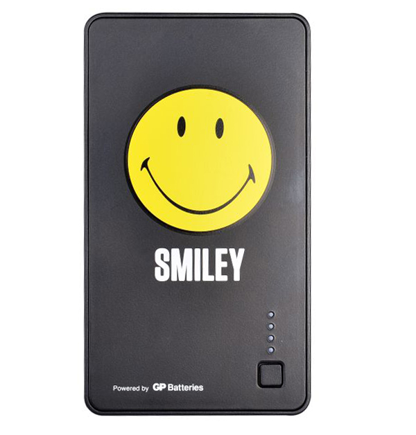 The GP x SMILEY Special Edition Power Bank has a huge Smiley at the front, and is painted black every where else.