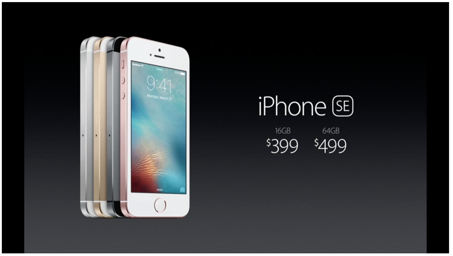 U.S. prices of the iPhone SE.