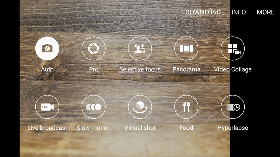 The camera app has Auto controls for most users, and Pro controls for advanced users.