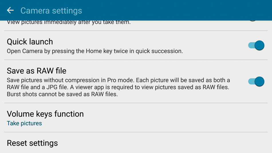 You can save in raw directly from the S7 Camera app, which you can't do on the iOS Camera app.