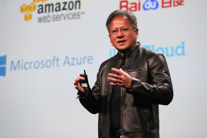 Jen-Hsun Huang, CEO of NVIDIA, giving the opening keynote at GTC 2016.