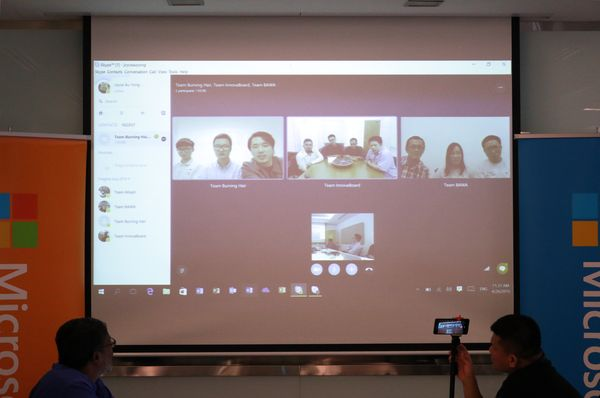 Skype video conference with the winning teams.
