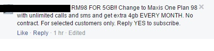 A Maxis user said he received an SMS for him to pay only RM98 for 5GB of data quota. The standard quota, as seen below, is only 1GB.