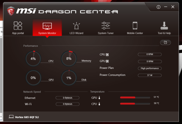The Dragon Center is your one-stop software for monitoring and system tweaking on the Vortex.