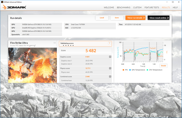 We also ran 3DMark's Fire Strike Ultra, where the Vortex scored a massive 5,482. Not surprising considering there are two NVIDIA GeForce GTX 980 graphics cards in SLI.