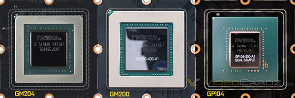 A leaked image of the GP104 GPU package (far right) appears to show a standard memory interface, similar to the Maxwell-based GM204 and GM200 GPUs.