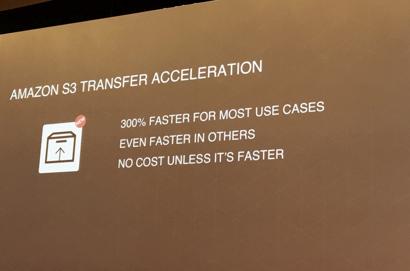 Following the unveiling of the AWS Import/Export Snowball at AWS re:Invent last year, the new Amazon S3 Transfer Acceleration feature allows for cross-country data transfer through the use of optimized network protocols and the AWS edge infrastructure.