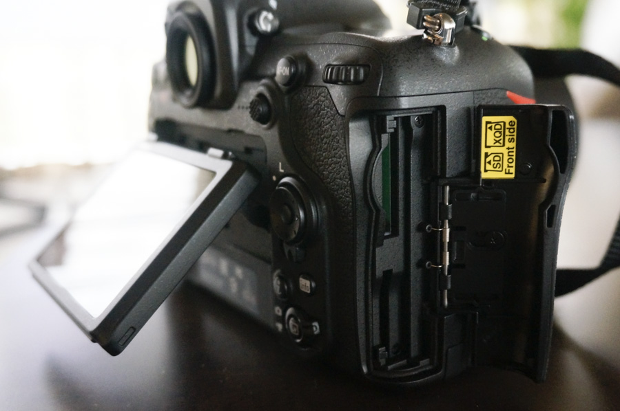 The D500 has a slot for both SD and XQD cards.