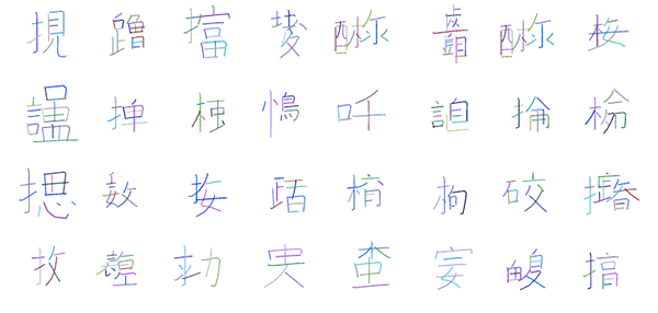 Designer David Ha used TensorFlow to create a program that can invent fake but realistic-looking Chinese characters. (Image Source: David Ha)