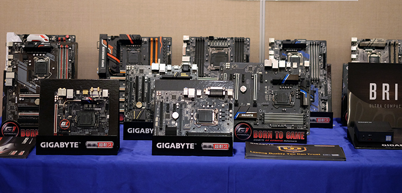 Here's a mix of current and upcoming motherboards from Gigabyte. Unfortunately, we weren't allowed to look more closely at the new models, because they're still technically prototypes.