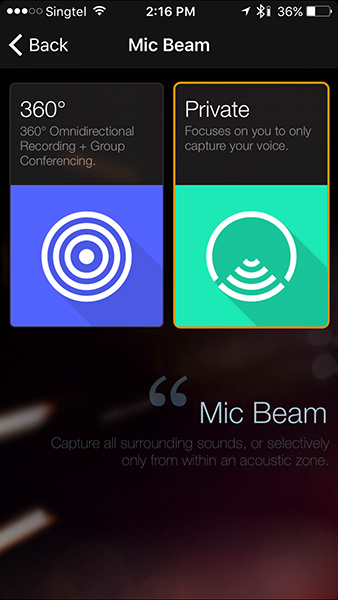 You can adjust the spread of the Mic to best suit the type of conversation you want to capture.